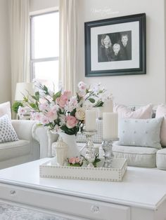 Decorating for spring! The living room decorated in pink with lots of spring flowers! By: Nissa-Lynn Interiors Pastel Living Room, Classy Living Room, Home Living Room, Living Room Decor, Bedroom Decor, Flo Living, Pastel Home Decor, Spring Home Decor, Elegant Home Decor