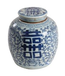 Blue and White Melon jar. Pink Pagoda