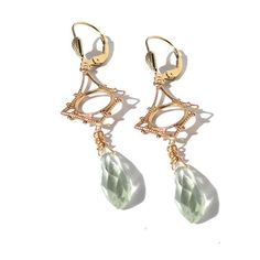 Green amethyst earrings chandelier earrings by FelisaJewelry, $69.00