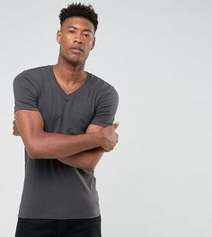 91b3b97dd7711 ASOS TALL Muscle Fit T-Shirt With V Neck - Black Ellesse
