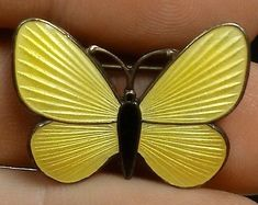 Old STERLING Silver FINN JENSEN Yellow ENAMEL BUTTERFLY Brooch PIN Norway