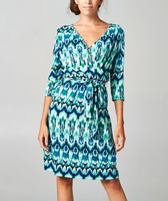Black & Blue Ikat Surplice Dress by  #zulily #zulilyfinds