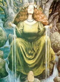 Lady of the Waters by Brian Froud. Rune Lagu symbolizing the dark forces of the subconcious mind.