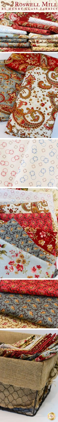 Roswell Mill by Little Quilts from Henry Glass Fabrics is a whimsical floral fabric collection available at Shabby Fabrics