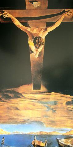 Cristo de San Juan de la Cruz. Salvador Dalí, 1951. Es una obra de óleo sobre lienzo, de estilo surrealista. Dimensiones: 205 cm × 116 cm. Museo Kelvingrove, Glasgow, Reino Unido.