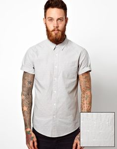 Enlarge ASOS Chambray Dobby Shirt In Short Sleeve