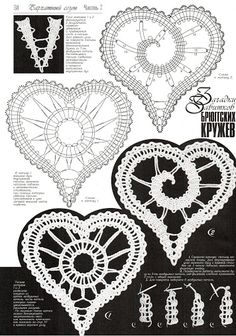 irish crochet motifs -Crochet Russian bobbin lace-like heart patterns.