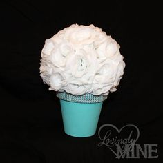 Tiffany & Co Inspired Centerpiece  White Rose Ball by LovinglyMine, $24.00