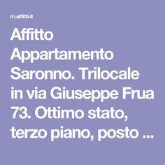 Affitto Appartamento Saronno. Trilocale in via Giuseppe Frua 73. Ottimo stato, terzo piano, posto auto, terrazza, riscaldamento centralizzato, rif. 61866662