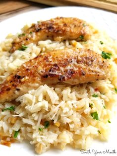 A quick and easy skillet meal with tender chicken scampi over perfectly cooked buttery, garlic parmesan rice. Best Chicken Recipes, Rice Recipes, Beef Recipes, Dinner Recipes, Cooking Recipes, Healthy Recipes, Delicious Recipes, Recipes With Chicken Tenders, Chicken Breakfast Recipes