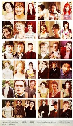faces of Pride and Prejudice- I've seen all of these versions..:)