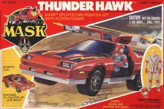 Box front for the Thunder Hawk, a sports car / fighter jet, with pilot Matt Trakker, the leader of the Mobile Armored Strike Kommand (M.A.S.K.)