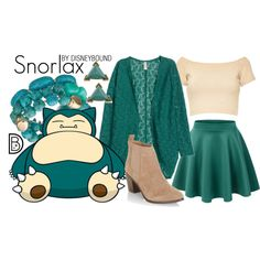 Snorlax by leslieakay on Polyvore featuring Alice + Olivia, LE3NO, New Look, Gerard Yosca and Pokemon