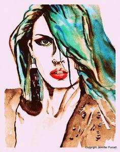 Angela Lindvall fashion illustration by Jennifer Purcell