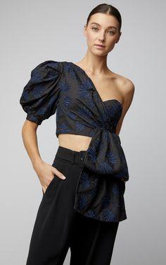 Acler Marita Embroidered One-Shoulder Cotton-Poplin Top Runway Fashion, Girl Fashion, Fashion Dresses, Womens Fashion, Fashion Design, Fashion Trends, Blouse Styles, Blouse Designs, Fashion Corner