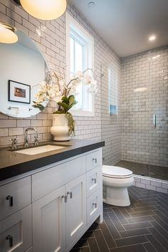 Traditional 3/4 Bathroom with Flush, Undermount Sink, Slate counters, European Cabinets, slate tile floors, High ceiling