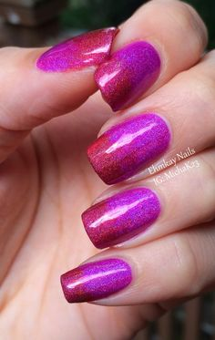 Smitten Polish Radiant Orchid and KBShimmer Rust No One Holographic Gradient  http://ehmkaynails.blogspot.com/2014/11/smitten-polish-radiant-orchid-and.html