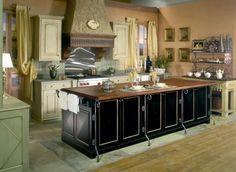 wohnideen französische landhaus küche schwarz holz arbeitsplatte