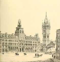 Design submitted by Irish architect, Thomas Newenham Deane, for the Royal Courts of Justice competition in London, which was won by George Edmund Street. It is recorded in RIAI council meeting minutes, of 8 July 1867, that Deane presented book containing photographs & description of design to RIAI. Published in The Building News, July 12 1867.