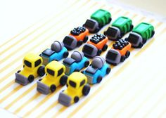 Fondant Cupcake Toppers - 6 Construction Truck Garbage Trucks Bulldozer Fondant Toppers - Perfect for Cupcakes, Cookies and Other Edibles