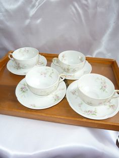 Vintage Teacups and Saucers   CH Field Haviland by HollyWouldFind