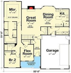 Ranch House Plan with Flex Room - floor plan - Main Level - Petra Home Ranch House Plans, Best House Plans, Craftsman House Plans, Country House Plans, Dream House Plans, Small House Plans, House Floor Plans, The Plan, How To Plan