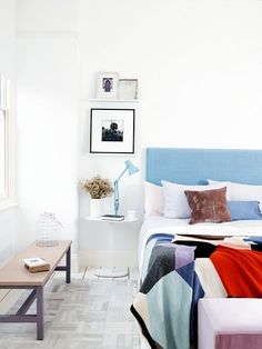 White bedroom, Dulux Ultra White Paint, Dulux Lets Colour Photographed by Graham Atkins-Hughes InteriorLifestyle Photographer London UK White Bedroom Decor, White Decor, Bedroom Colors, Home Interior Design, Interior Styling, Modern Interior, Interior Decorating, Lampe Metal, Diy Luminaire