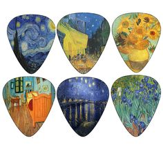 Vincent Van Gogh Guitar Picks - Celluloid Medium 12 Pack - Starry Night Sunflowers Cafe Impressionist Art Painting by Creanoso - Best Gifts for Guitarist