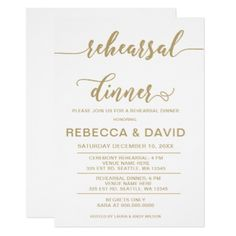white and gold Elegant Script Rehearsal Dinner Card - wedding invitations diy cyo special idea personalize card