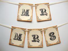 Mr & Mrs wedding chair banners