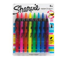 #2 your favorite school supply - Sharpie Pen-Style Retractable Highlighters, 8 Colored Highlighters - Perfect for color coding words by grammar type. LOVE the variety of colors and no caps to lose! #teacherschangelives