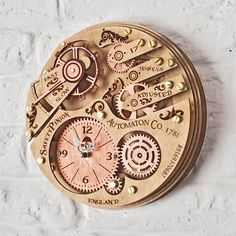 Unique handcrafted wooden wall clock with moving gears. Will match a steampunk, loft, boho, antique and shabby chic interior design. A perfect personalized birthday, wedding and anniversary gift. Wall Clock With Moving Gears, Big Wall Clocks, 3d Wall Clock, Kitchen Wall Clocks, Clock Decor, Wooden Gear Clock, Wooden Gears, Unique Clocks, Cool Clocks