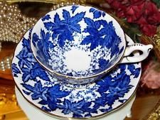 Wide Coalport Cobalt Blue Oak Leaf Chintz Tea Cup and Saucer Gold English Teacup