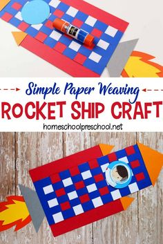 Weaving paper is great for fine motor skills. Kids can build those skills as they make this rocket craft for preschoolers! Don't miss the printable template that will help get you started. Easy Crafts For Kids, Craft Activities For Kids, Preschool Crafts, Fun Crafts, Craft Ideas, Space Activities, Play Ideas, Rocket Ship Craft, Hobbies And Crafts