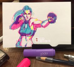 Boxing girl sketch completed by Alex Bodnar with #Yoobi #highlighters. #bodnar #alexbodnar #gymrat #bossgirls #boxing #mma  #highlighterchallenge #workout #sketchbook #art