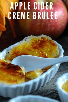 Fall version of creme brulee uses apple cider and apple brandy to add a seasonal flavor to these classic creamy and crunchy fall dessert recipes. Fall Dessert Recipes, Fall Desserts, Fall Recipes, Delicious Desserts, Coffee Creme Brulee, Cream Brulee, Grilled Desserts, Brulee Recipe, Gluten
