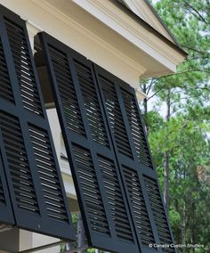 A Image gallery of exterior shutters and ideas to inspire by Canada Custom Shutters. Modern Farmhouse Exterior, Modern Farmhouse Decor, Outdoor Shutters, Window Shutters, Exterior Blinds, Bahama Shutters, Bermuda Shutters, Custom Shutters, Tiny House Cabin