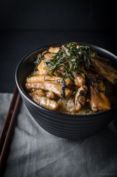 pork belly and shiso donburi
