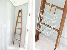 Wire Basket | Wooden Orchard Ladder | Catalina Mist | Lettered Cottage