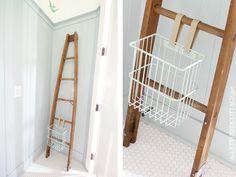 Lettered Cottage | Half Bath | DIY Magazine Holder | Towel Bar | Birds | Ladder | Basket