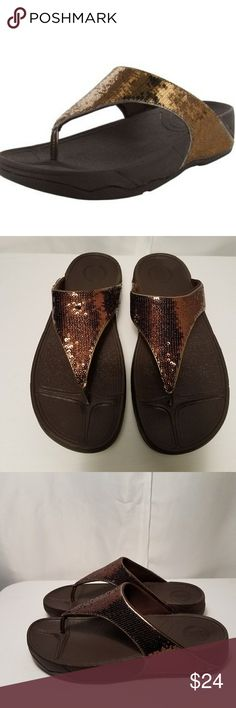 Fitflop Electra Sandals Bronze sequin design on upper.  Second to last photo shows a small flaw where sequin doesnt lay quite flat.  Like new.  No signs of wear. Fitflops Shoes Sandals