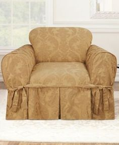Sure Fit Matelasse Damask 1-Piece Chair Slipcover - Gold
