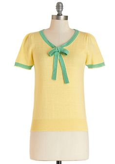 Barista in the City Top in Lemon - Mid-length, Knit, Yellow, Green, Solid, Bows, Work, Vintage Inspired, 50s, 60s, Darling, Short Sleeves, Yellow, Short Sleeve, Variation