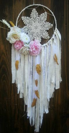 Shop for dreamcatcher on Etsy, the place to express your creativity through the buying and selling of handmade and vintage goods. Lace Dream Catchers, Beautiful Dream Catchers, Dream Catcher Art, Dream Catcher White, Shabby Chic Wreath, Shabby Chic Pink, Los Dreamcatchers, Gold Nursery Decor, Crochet Dreamcatcher