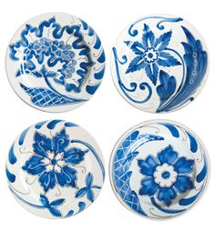 VIETRI Blu Bianco Assorted Salad Plates, set of 4. Handpainted earthenware, made in Tuscany.