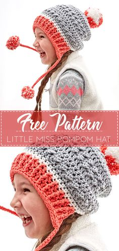 Crochet Beanie Ideas Little Miss Pompom Hat – Free Crochet Pattern – Crochet Love Crochet Kids Hats, Crochet Girls, Crochet Clothes, Kids Crochet Hats Free Pattern, Girl Crochet Hat, Childrens Crochet Hats, Crocheted Hats, Crochet Beanie Pattern, Crochet Patterns
