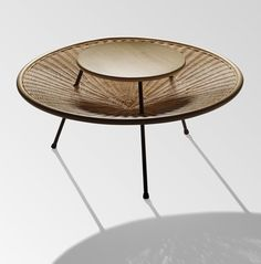 Janine Abraham and Dirk Jan Rol; Enameled Metal, Rattan and Wood Catch-All Coffee Table, 1958.
