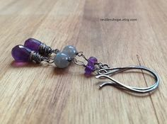 Amethyst and Labradorite Earrings Oxidized by RestlessHope on Etsy