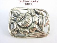 Estate Danecraft Sterling Silver 925 Small Rectangle Flower Brooch Pin #Danecraft