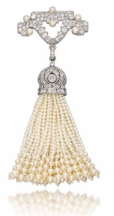 """Belle Epoque Pearl And Diamond Brooch - Signed """"Cartier""""   c. 1910's  -  Christie's"""